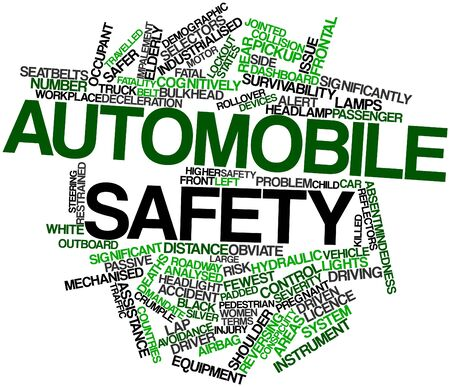 deceleration: Abstract word cloud for Automobile safety with related tags and terms