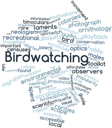 etiquette voyage: Résumé nuage de mots pour observer les oiseaux avec des étiquettes et des termes connexes
