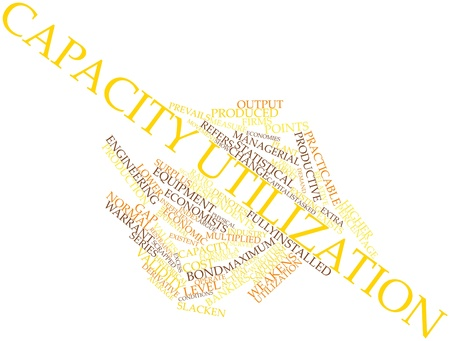 Abstract word cloud for Capacity utilization with related tags and terms