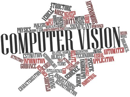 Abstract word cloud for Computer vision with related tags and terms photo
