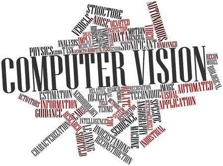arbitrario: Nube de la palabra abstracta de la visión por ordenador con las etiquetas y términos relacionados