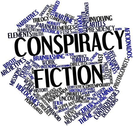 narratives: Abstract word cloud for Conspiracy fiction with related tags and terms