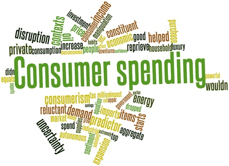 price uncertainty: Abstract word cloud for Consumer spending with related tags and terms Stock Photo