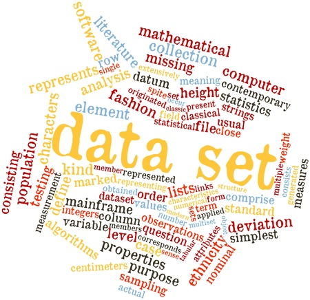 obtained: Abstract word cloud for Data set with related tags and terms Stock Photo