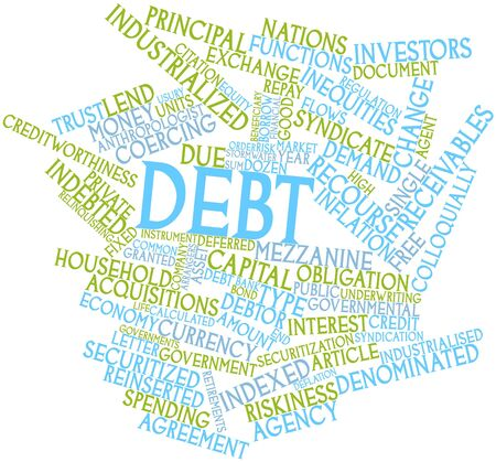 financial year: Abstract word cloud for Debt with related tags and terms Stock Photo