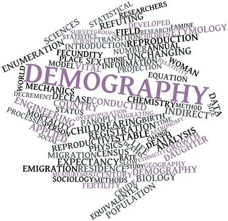 Abstract word cloud for Demography with related tags and terms Stock Photo - 16530055