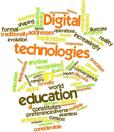 Abstract word cloud for Digital technologies in education with related tags and terms Stock Photo - 16529731