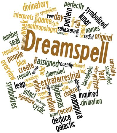 Abstract word cloud for Dreamspell with related tags and terms Stock Photo - 16529216
