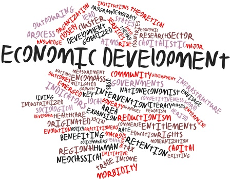 desarrollo económico: Nube palabra abstracta para el desarrollo económico con las etiquetas y términos relacionados