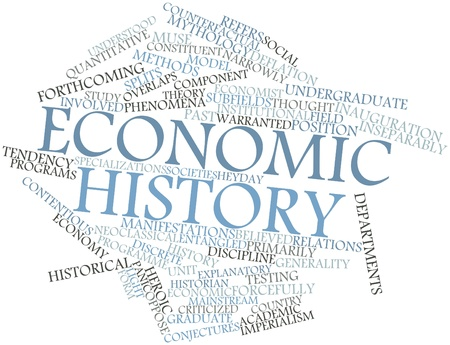 believed: Abstract word cloud for Economic history with related tags and terms Stock Photo