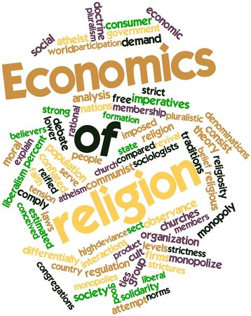 cloud formation: Abstract word cloud for Economics of religion with related tags and terms Stock Photo