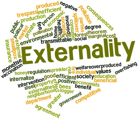 economists: Abstract word cloud for Externality with related tags and terms Stock Photo