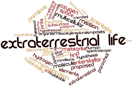 Abstract word cloud for Extraterrestrial life with related tags and terms Stock Photo - 16527649