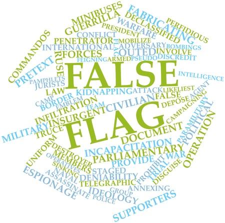 falso: Nube palabra abstracta por falsa bandera con las etiquetas y términos relacionados Foto de archivo