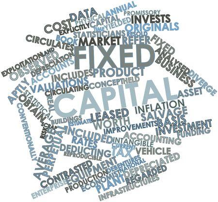 clavados: Nube de palabras Resumen de capital fijo con etiquetas y términos relacionados Foto de archivo
