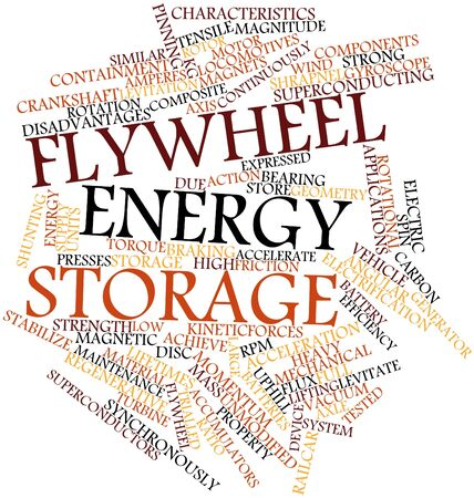 flywheel: Abstract word cloud for Flywheel energy storage with related tags and terms
