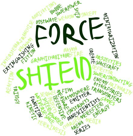 miniaturization: Abstract word cloud for Force shield with related tags and terms