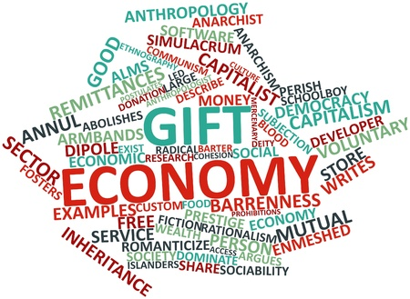 reciprocate: Abstract word cloud for Gift economy with related tags and terms