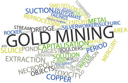 settles: Abstract word cloud for Gold mining with related tags and terms Stock Photo