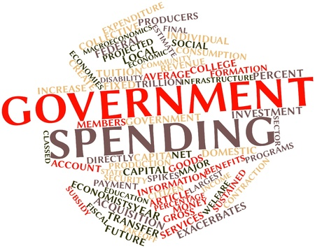 sustained: Abstract word cloud for Government spending with related tags and terms Stock Photo