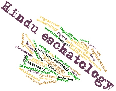 interventions: Abstract word cloud for Hindu eschatology with related tags and terms