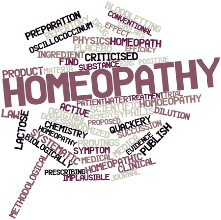 materia: Abstract word cloud for Homeopathy with related tags and terms Stock Photo