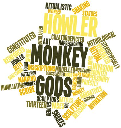 reckoning: Abstract word cloud for Howler Monkey Gods with related tags and terms