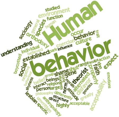 Abstracte woordwolk voor menselijk gedrag met bijbehorende labels en termen