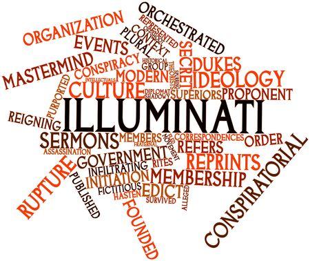 edicto: Nube palabra abstracta para Illuminati con etiquetas y términos relacionados Foto de archivo