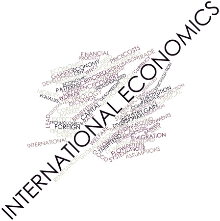 migrate: Abstract word cloud for International economics with related tags and terms Stock Photo