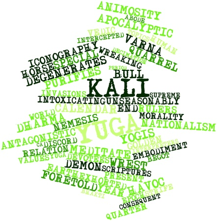 worshipped: Abstract word cloud for Kali Yuga with related tags and terms