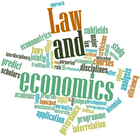 promulgated: Abstract word cloud for Law and economics with related tags and terms