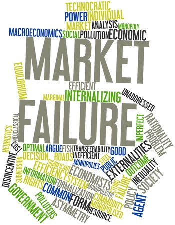 Abstract word cloud for Market failure with related tags and terms photo