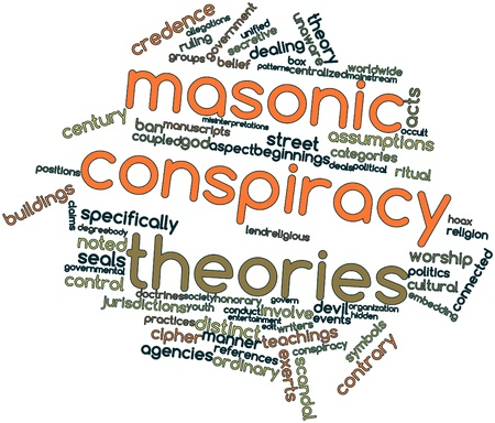 Abstract word cloud for Masonic conspiracy theories with related tags and terms Stock Photo