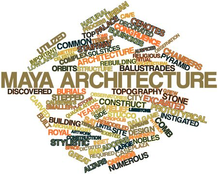 lowlands: Abstract word cloud for Maya architecture with related tags and terms Stock Photo