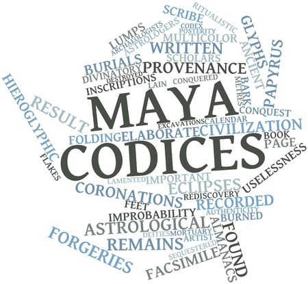 conquered: Abstract word cloud for Maya codices with related tags and terms Stock Photo