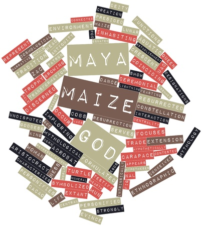 hypotheses: Abstract word cloud for Maya maize god with related tags and terms
