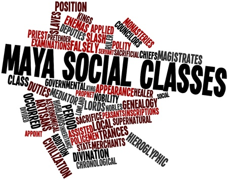 traded: Abstract word cloud for Maya social classes with related tags and terms Stock Photo