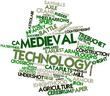 facilitated: Abstract word cloud for Medieval technology with related tags and terms