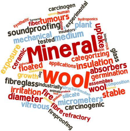 asbestos: Abstract word cloud for Mineral wool with related tags and terms