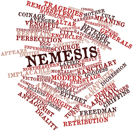 avenger: Abstract word cloud for Nemesis with related tags and terms Stock Photo