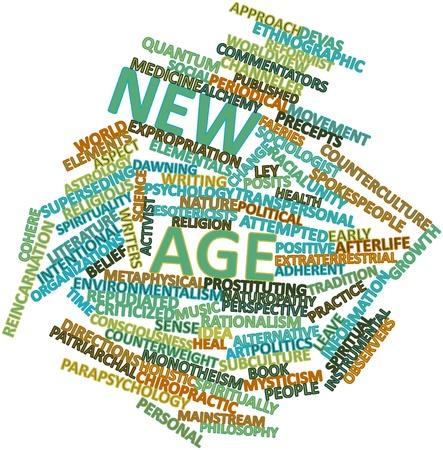 new age: Nube palabra abstracta para la Nueva Era con etiquetas y t�rminos relacionados Foto de archivo