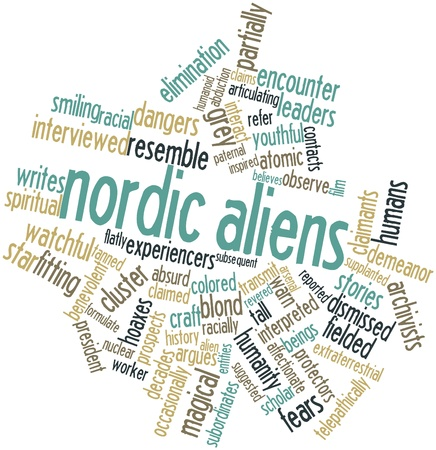 entities: Abstract word cloud for Nordic aliens with related tags and terms