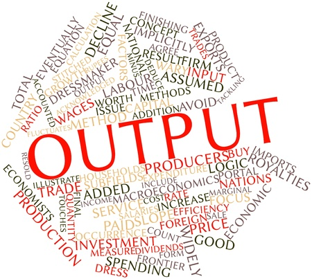 deduce: Abstract word cloud for Output with related tags and terms Stock Photo