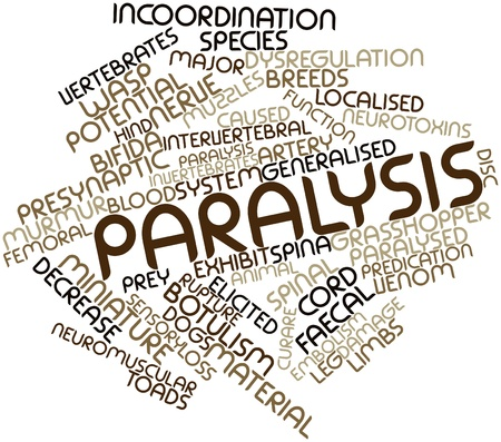 paralysis: Abstract word cloud for Paralysis with related tags and terms Stock Photo