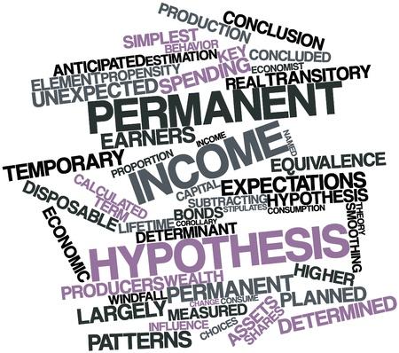 hypothesis: Nube palabra abstracta para hip�tesis del ingreso permanente con las etiquetas y t�rminos relacionados Foto de archivo