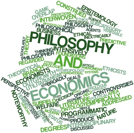Abstract word cloud for Philosophy and economics with related tags and terms
