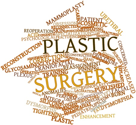 reconstructive: Abstract word cloud for Plastic surgery with related tags and terms Stock Photo