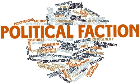 faction: Abstract word cloud for Political faction with related tags and terms