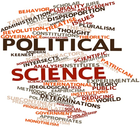 Abstract word cloud for Political science with related tags and terms Stock Photo